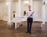 Aksel Vürst (klarnet) ja kontsermeister Ieva Kostanda.